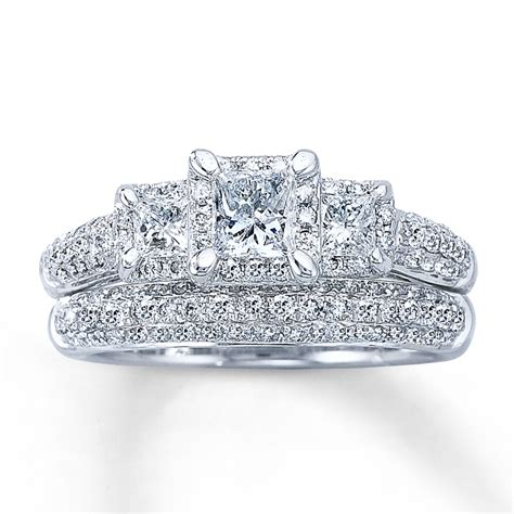 bridal sets white gold princess cut bridal sets