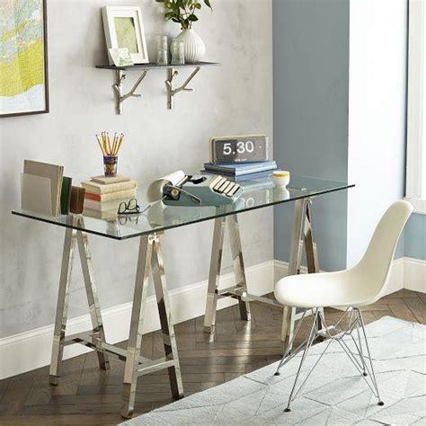 glass cross base desk west elm
