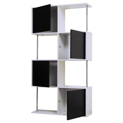 etagere 90 cm etag 232 re design 8 niches en bois l90xp28xh164cm blanc