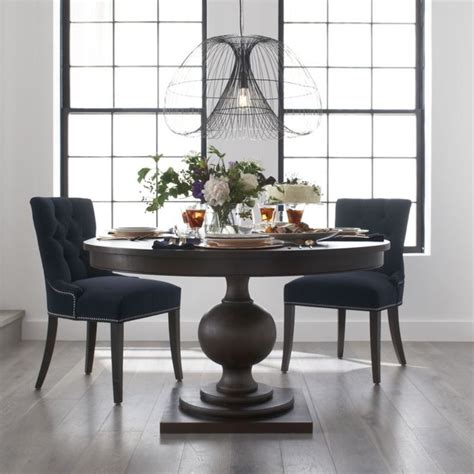 black wood round dining room tables upholstered chairs classic dining room design with 60 inch round extendable