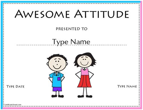 awesome certificate templates education certificates awesome attitude award