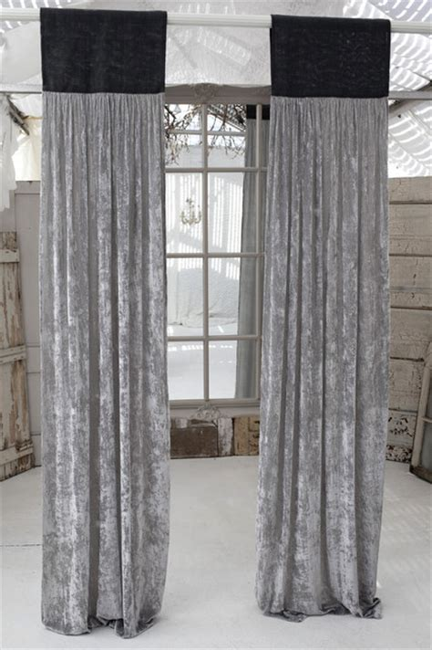 Grey Velvet Curtains Couture Dreams Platinum Velvet Slate Grey Jute Window Panel Curtains Other Metro
