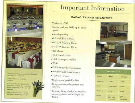 Wedding Rental Brochure by Building Rental Johnston Lions Club And Johnston Lions