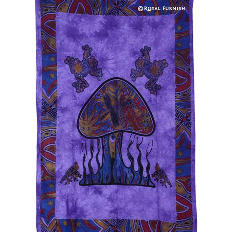 tie dye home decor purple twin size mushroom frog hippie tie dye tapestry