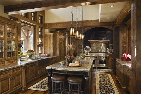 Rustic Home Kitchen Design | rustic house design in western style ontario residence