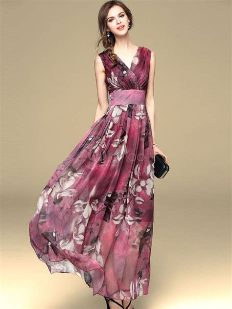 Flores Maxy chiffon maxi dress 2018 floral summer dress