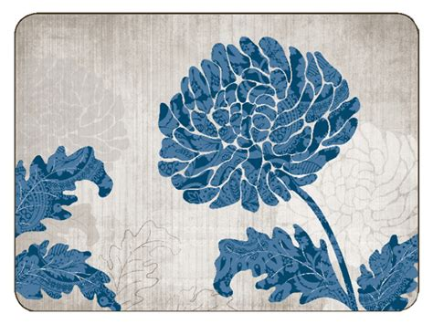 Jason Table Mats by Placemats Jason Chrysanthemum Blue Placemats