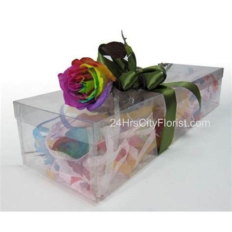 Box A Single Rainbow Multicolor Happy Preserved Flower rainbow in gift box