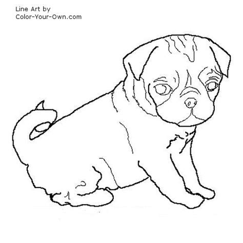 black and white coloring pages of dogs illustration pug coloringpage dog drawingstocolor lineart