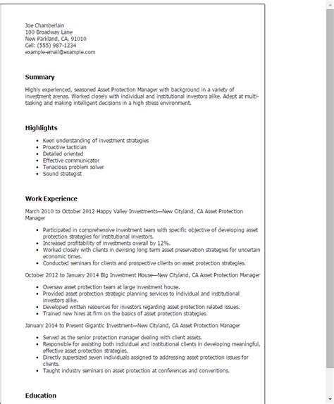 Warranty Manager Cover Letter by Professional Asset Protection Manager Templates To Showcase Your Talent Myperfectresume