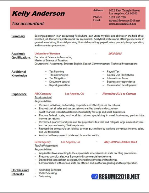 accountant resume exles 2017 tax accountant resume exle 2018 resume 2018