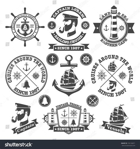 set of vintage nautical sea labels with retro typography set vintage nautical labels icons 2 stock vector 156136871