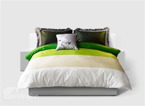 Green And White Duvet Cover Modern Bright Green And White 4 Cotton Duvet Cover Sets