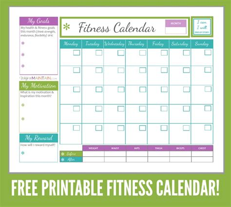 Free Printables For Diet Fitness Workout Calendar Template
