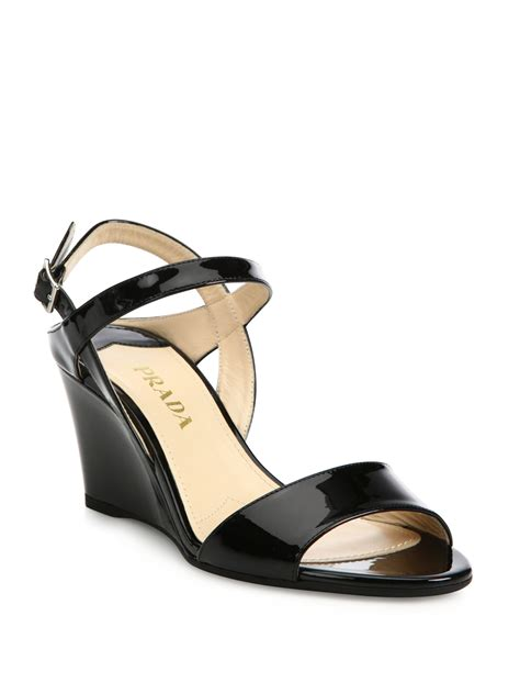 prada patent leather ankle wedge sandals in black lyst