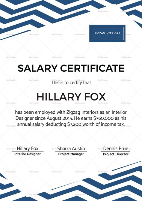 salary certificate template simple salary certificate design template in psd word