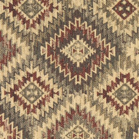 Style Upholstery Fabric by Burgundy Beige And Green Southwest Style