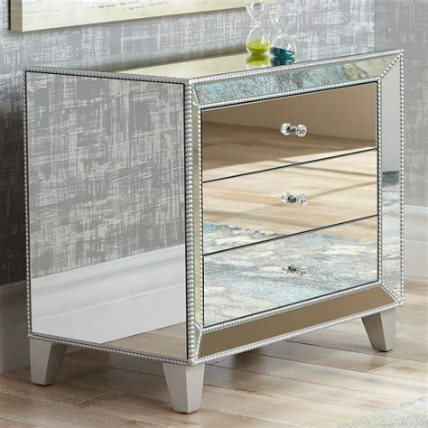 mirrored table l set 3 drawer mirrored accent table nightstand chest dresser