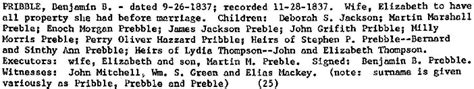 Preble County Court Records Enoch Pribble And Lydia York