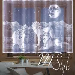 wolf window curtains kids children net curtain wolves wolf animals white slot