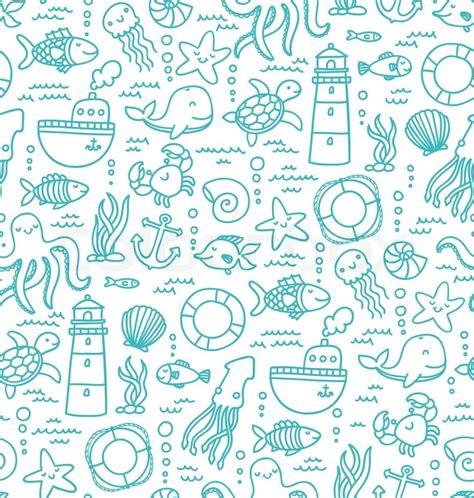 doodle animals vector free seamless pattern with sea creatures doodles and nautical