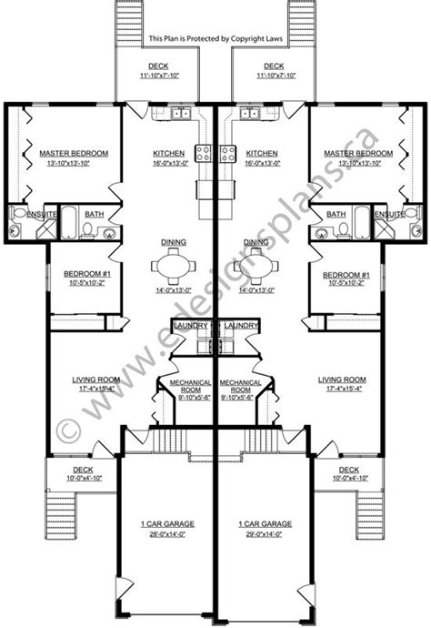 Side By Side Duplex Plans by 92 Best Images About House Plans On House