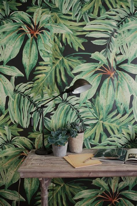 banana tropical wallpaper fresh greens tropical leaf decor ideas surface design