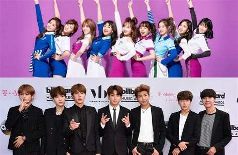 twice and bts bts and twice chosen as the idol groups koreans would like