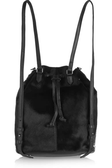 Elizabeth and James   Cynnie Sling leather-trimmed calf hair backpack   NET-A-PORTER.COM
