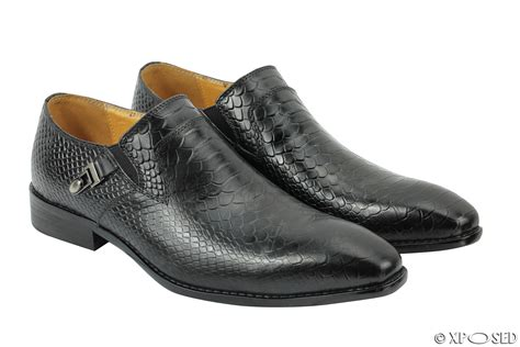 mens mod loafers mens new real leather black wine brown snakeskin look