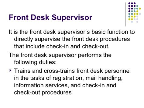 Front Desk Manager Responsibilities by 14100484 Hotel Front Office Department