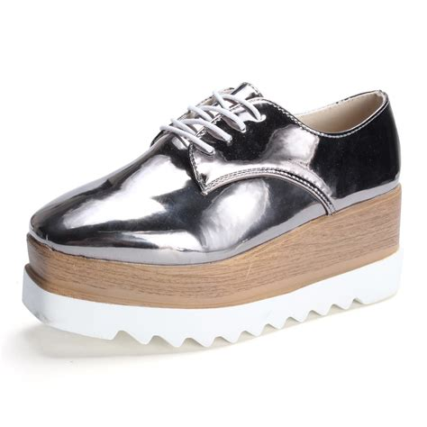 Flatshoes Flatform Sneakers 19 2017 oxfords platform shoes pointed toe brogues creepers patent leather flat shoe