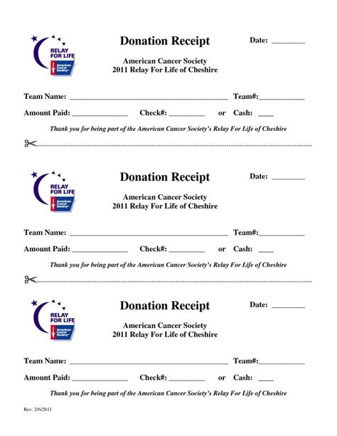 Donation Letter Relay For Relay For Print Forms Donation Receipt Date American Cancer Society Rfl