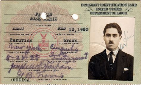 Identification Card Ellis Island Template by Immigrant Id Card For Non Quota Immigration Visa Gg Archives