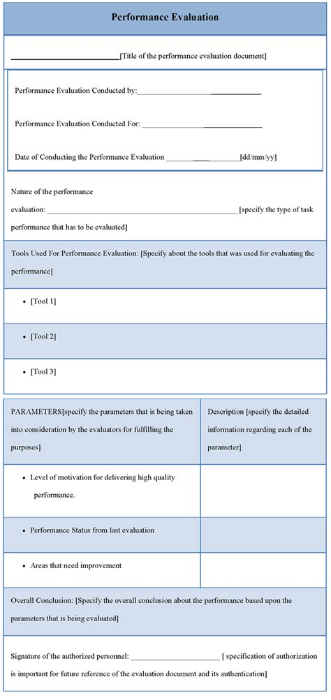 evaluation template for performance template of