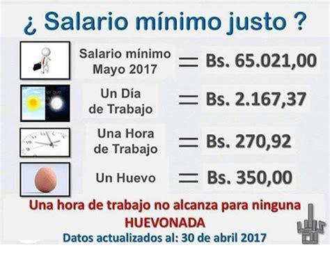 salario minimo interprofesional para 2017 salario minimo justo salario minimo 6502100 mayo 2017 bs