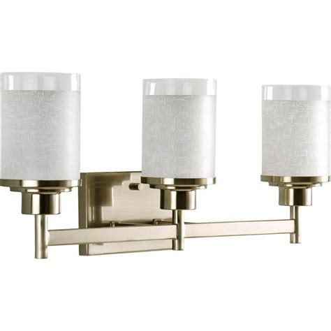 Bathroom Lighting Collections Progress Lighting Kensington Collection 3 Light Brushed Nickel Vanity Light With Swirled Etched