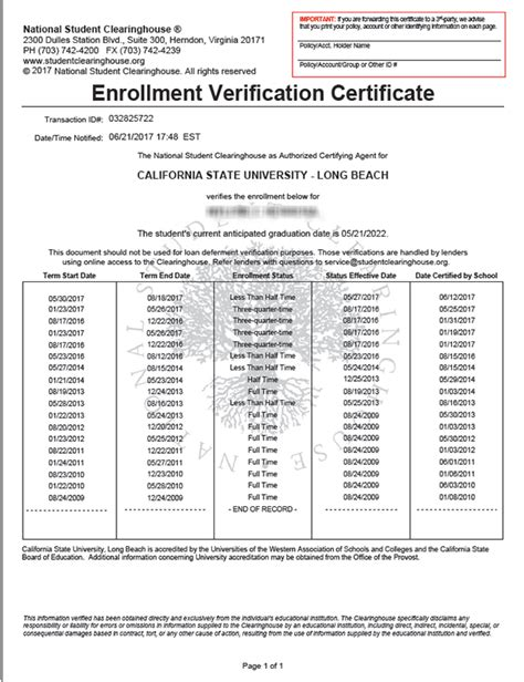 Proof Of Enrollment Letter academic history mycsulb