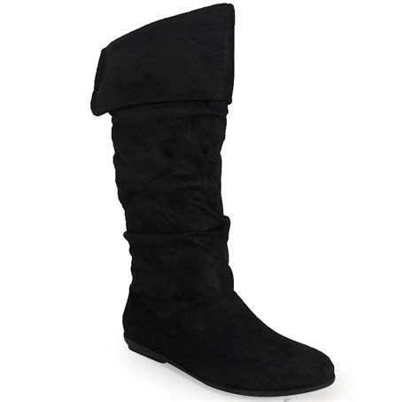 new womens black faux suede pixie mid calf flat low