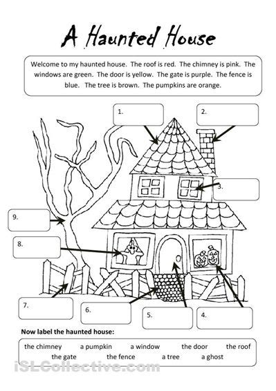 my house printable activities a haunted house worksheet islcollective com free esl