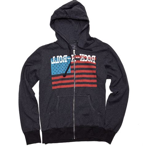 Hoodie Jaket Rock N Roll chaser quot rock n roll flag quot hoodie in gray for grey lyst