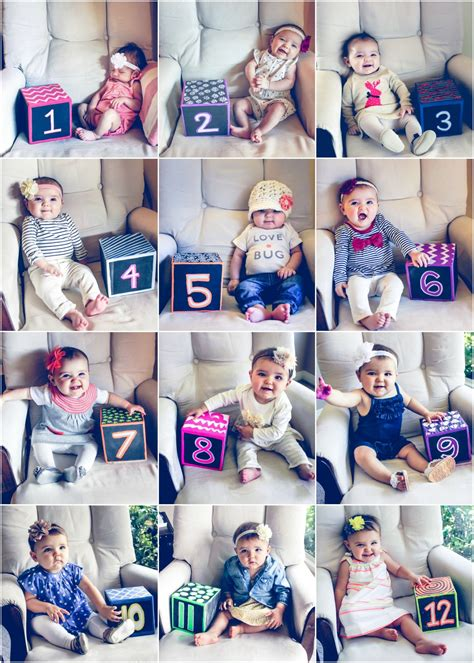 Monthly Baby Photos 12 Months Baby Progression Photos Month To Month Baby Photos Baby S First 12 Month Photo Collage Template