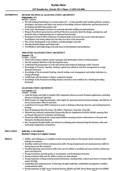 Lead Solution Architect Resume Sles Velvet Jobs Solution Architect Resume Template