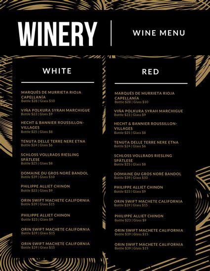 Customize  Wine Menu Templates Online