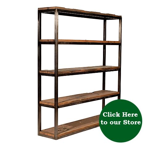 industrial wood bookcase and hat box hudson goods