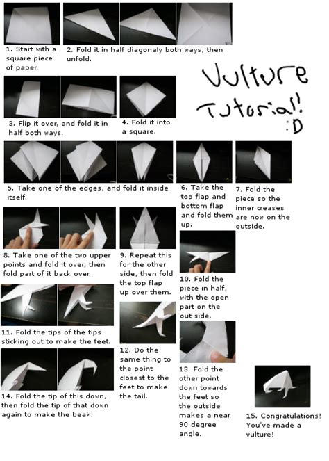 Origami Vulture - origami vulture tutorial by espiwile on deviantart