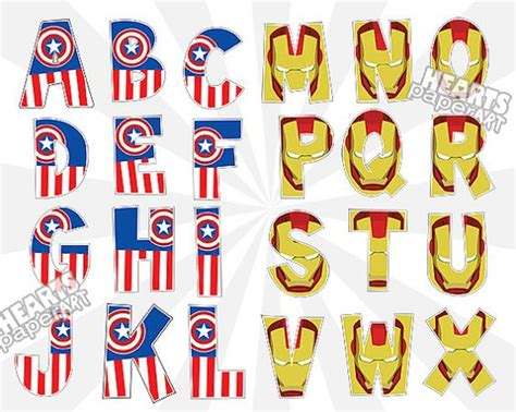 captain america iron man alphabet clip art set