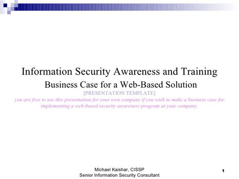 Information Security Awareness And Training Business Case For Web Bas Web Based Business Plan Template