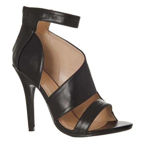 high heel strappy sandal with ankle