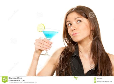 martini woman woman holding popular blue martini cocktail royalty free